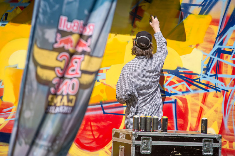 Graffiti artist paint a wall during Red Bull BC One Camp Ukraine at Art-Zavod Platforma in Kiev, Ukraine, on August 14, 2016.