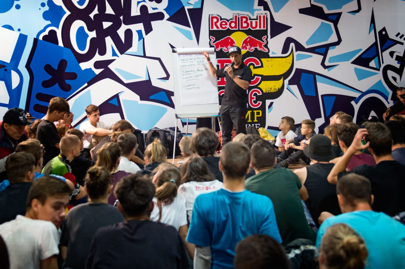 B-Boy Mounir from France gives a workshop during Red Bull BC One Camp Ukraine at Art-Zavod Platforma in Kiev, Ukraine, on August 13, 2016.